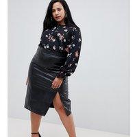 Fashion Union Plus Pu Pencil Skirt With Side Split - Black pu
