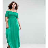 ASOS CurveASOS CURVE Off Shoulder Maxi Sundress with Shirring - Green
