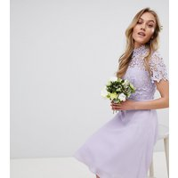 Chi Chi London Petite 2 in 1 High Neck Midi Dress with Crochet Lace - Lavender grey