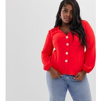 River Island Plus button through blouse in red - Red