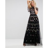 Needle & Thread Embroidered Maxi Dress - Black