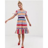 Yumi skater dress in bold stripe print - Multi