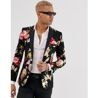 Tux Till Dawn slim fit floral flower jacket - Black