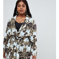 Asos Design Curve Tailored Soft Scarf Print Relaxed Blazer - Multi