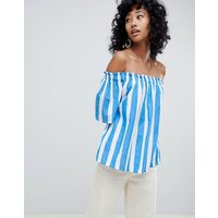 Ichi Stripe Cotton Bardot Top - Lichen blue
