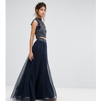 Lace & Beads Tulle Maxi Skirt With Scattered Pearl Embellishment - Navy