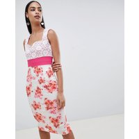 Vesper floral pencil dress with lace detail - Pink/ flower