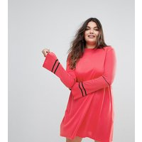 ASOS CurveASOS CURVE Knitted Dress with Fluted Sleeves and Sports Tipping - Coral