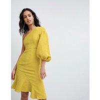 Elliatt One Shoulder Ruffle Mini Dress - Treuse