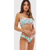 Accessorize Shirring Bandeau Bikini Top In Floral