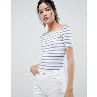 mByM Stripe Bardot Bodysuit - Thin horizontal stri