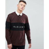 New Look Harlem Rugby Polo In Burgundy - Dark burgundy