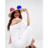 Sombrero de paja con detalle de pompón y tira ajustable de ASOS