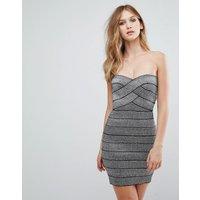 QED London Strapless Metallic Bodycon Dress - Silver