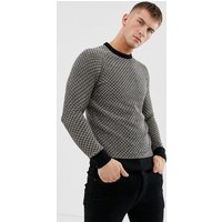 Ringspun waffle textured knitted jumper - Fawn