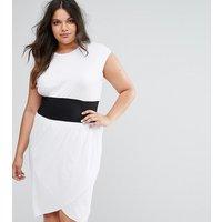 ASOS CurveASOS CURVE Corset Waist Detail Midi T-Shirt Dress - White/black