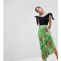 True Violet Pencil Skirt With Frill Hem In Floral Print - Green floral multi