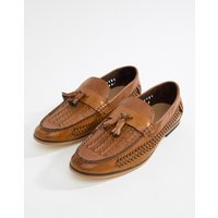 boohooMAN faux leather weave loafers in tan - Tan