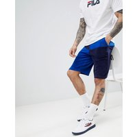 Fila Black Line terry towelling block shorts in blue - Blue