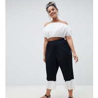 ASOS DESIGN Curve Mono Hem Pleated Plisse Culotte Trousers - Black/white