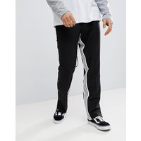 ASOS DESIGN Straight Smart Trouser With Insert Stripe & Popper Hem - Black