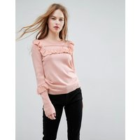 ASOS Jumper with Frill and Pointelle Detail - Blush