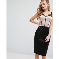 Elise RyanElise Ryan Eyelash Lace Pencil Dress With Panelled Corset Detail - Nude/black