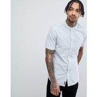 Tokyo Laundry Short Sleeve Grandad Collar Shirt - Pearl blue
