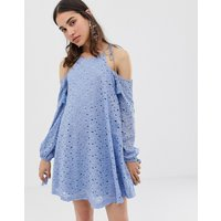 J.O.AJ.O.A Swing Dress With Cold Shoulders And Tassel Ties In Lace - Blue