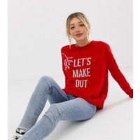 Jersey navideño con eslogan Lets Make Out de ASOS PETITE