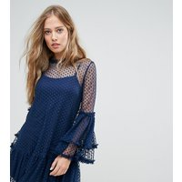 Lace and BeadsLace & Bead High Neck Swing Dress In Spot Mesh - Navy