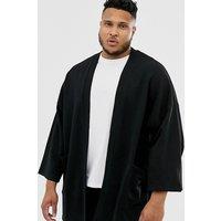 ASOS DESIGN Plus jersey kimono cardigan in black - Black
