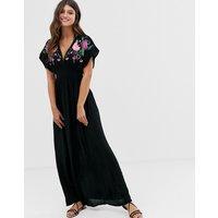 Accessorize Orla Embroidered Maxi Beach Dress - Black