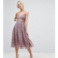 ASOS PETITE Lace Cami Midi Prom Dress - Dusky lilac