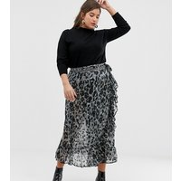 Religion Plus Wrap Maxi Skirt In Leopard - Raw grey