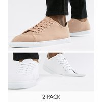 Truffle Collection 2 Pack Lace Up Plimsolls - White