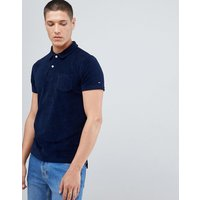 Tommy Hilfiger Slim Fit Towelling Polo Icon Stripe Detail in Navy - Maritime blue