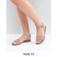 New Look Wide Fit Studded Flat Sandal - Beige