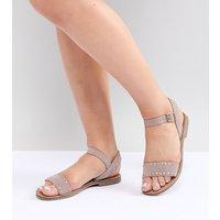 New Look Wide Fit Studded Flat Sandal - Beige