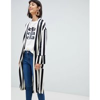 Mango Longline Duster Jacket In Mono Stripe - Multi