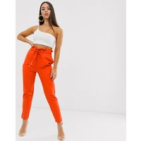 Lasula paper bag waist trouser in coral red - Coral red