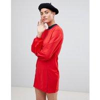 ASOSASOS Seam Detail Mini Swing Dress With Bell Sleeve - Red