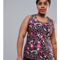 ASOS 4505 CURVE Gym Vest In Leopard Print With Contrast Panel Detail - Multi