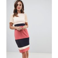 Paper Dolls flutter sleeve pencil dress with contrast stripe skirt in multi colour - Multi