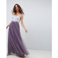 Needle & Thread tulle maxi skirt in purple - Aubergine