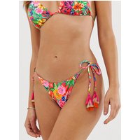 Accessorize Tropical Tie Side Bikini Bottom In Bright Multi