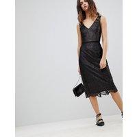 Oasis Lace Midi Dress - Black