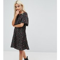 Yumi Petite Cape Detail Dress In Small Floral Print - Black floral