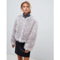 New Look Fluffy Faux Fur Collarless Jacket - Light grey