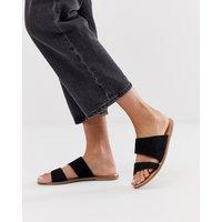 Accessorize Black Suede Asymmetric Summer Flat Sandals